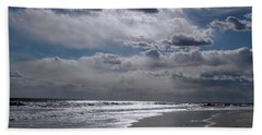 Beach Towel featuring the photograph Silver Linings Trim The Sea by Lynda Lehmann