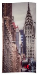 Silver Majesty - Chrysler Building New York Beach Sheet by Miriam Danar