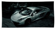 Beach Towel featuring the photograph Silver Mclaren by Joel Witmeyer