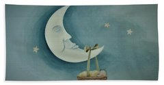 Silver Moon With Picnic Basket Beach Sheet