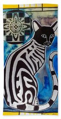 Silver Tabby With Mandala - Cat Art By Dora Hathazi Mendes Beach Sheet