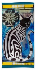Silver Tabby With Mandala - Cat Art By Dora Hathazi Mendes Beach Towel