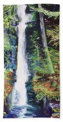 Beach Towel featuring the painting Silver Thread Falls by Mary K Conaboy