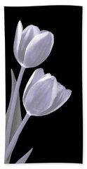 Silver Tulips Beach Towel