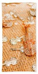Silver Violin Pendant With Diamonds Beach Towel