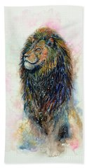 Beach Towel featuring the painting Simba by Zaira Dzhaubaeva