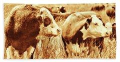 Simmental Bull 3 Beach Sheet by Larry Campbell