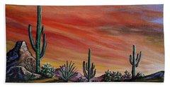 Simple Desert Sunset One Beach Towel