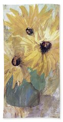 Beach Towel featuring the painting Simply Sunflowers  by Robin Maria Pedrero
