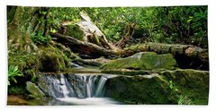 Sims Creek Waterfall Beach Towel by Meta Gatschenberger