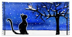 Sing For Me - Black Cat Card Beach Sheet
