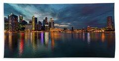 Singapore City Skyline At Evening Twilight Beach Sheet