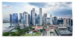 Singapore Cityscape Beach Towel