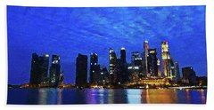 Beach Towel featuring the digital art Singapore City by PixBreak Art