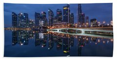 Singapore Skyline Reflection Beach Sheet