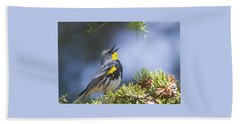 Singing Audubon's Warbler Beach Towel