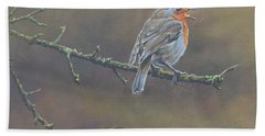 Beach Towel featuring the painting Singing Robin by Alan M Hunt