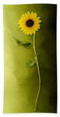 Single Long Stem Sunflower Beach Towel