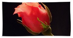 Single Pink Rose Bud Beach Sheet