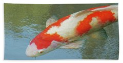 Single Red And White Koi Beach Sheet by Gill Billington
