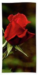 Single Red Rose Bud Beach Towel