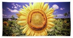 Single Sunflower Beach Towel