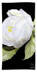 Single White  Bloom  Beach Towel by Carol Grimes