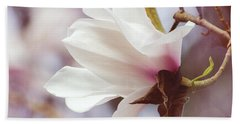 Single White Magnolia Beach Towel
