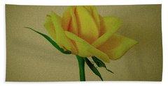 Single Yellow Rose Beach Towel