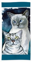 Sini And Nimbus - Cat Portraits Beach Towel