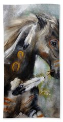 Beach Towel featuring the painting Sioux War Pony by Barbie Batson