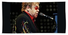 Sir Elton John At The Piano Beach Towel by Elaine Plesser