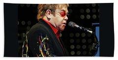 Sir Elton John At The Piano Beach Towel