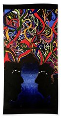 Sis The Twins - Abstract Silhouette Painting - Sisterhood - Abstract Painting  Beach Towel