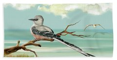 Sissor Tailed Flycatcher Beach Towel by Anne Beverley-Stamps