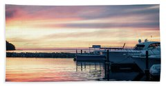 Sister Bay Marina At Sunset Beach Towel
