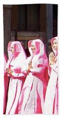 Sisters In Pink Beach Sheet by Susan Lafleur