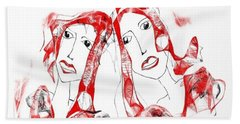 Beach Towel featuring the digital art Sisters by Sladjana Lazarevic