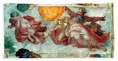 Sistine Chapel Ceiling Creation Of The Sun And Moon Beach Towel