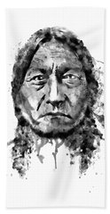 Beach Towel featuring the mixed media Sitting Bull Black And White by Marian Voicu