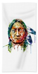 Sitting Bull Watercolor Painting Beach Sheet by Marian Voicu