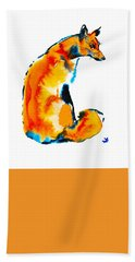Beach Towel featuring the painting Sitting Fox by Zaira Dzhaubaeva