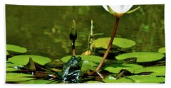 Sitting In A Waterlily Pond Beach Towel