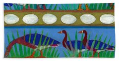 Beach Towel featuring the painting Six Geese-a-layin by Denise Weaver Ross
