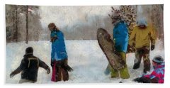 Six Sledders In The Snow Beach Towel