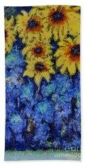 Six Sunflowers On Blue Beach Towel