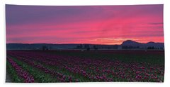 Beach Towel featuring the photograph Skagit Valley Burning Skies by Mike Reid
