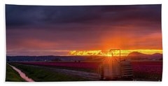 Beach Towel featuring the photograph Skagit Valley Tractor Sunstar by Mike Reid