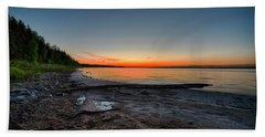 Beach Towel featuring the photograph Skeleton Lake Beach At Sunset by Darcy Michaelchuk
