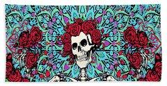 skeleton With Roses Beach Towel